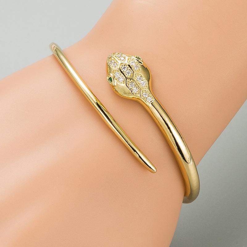Fashion snake copper zircon open bracelet NHLN332656