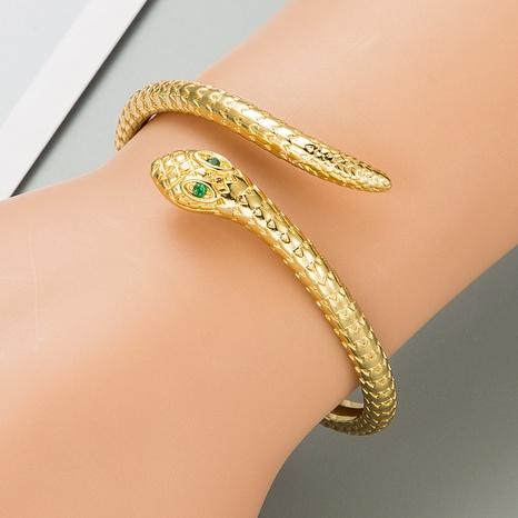 Hiphop snake copper zircon bracelet wholesale NHLN332658's discount tags