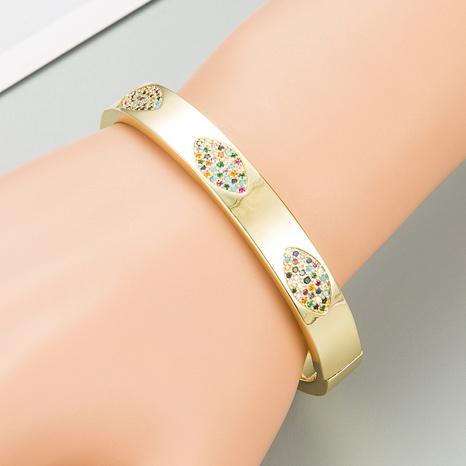 Fashion geometric color zircon copper bracelet NHLN332659's discount tags