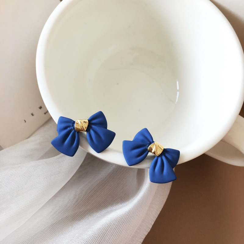 Simple blue bow alloy earrings wholesale NHBY332695