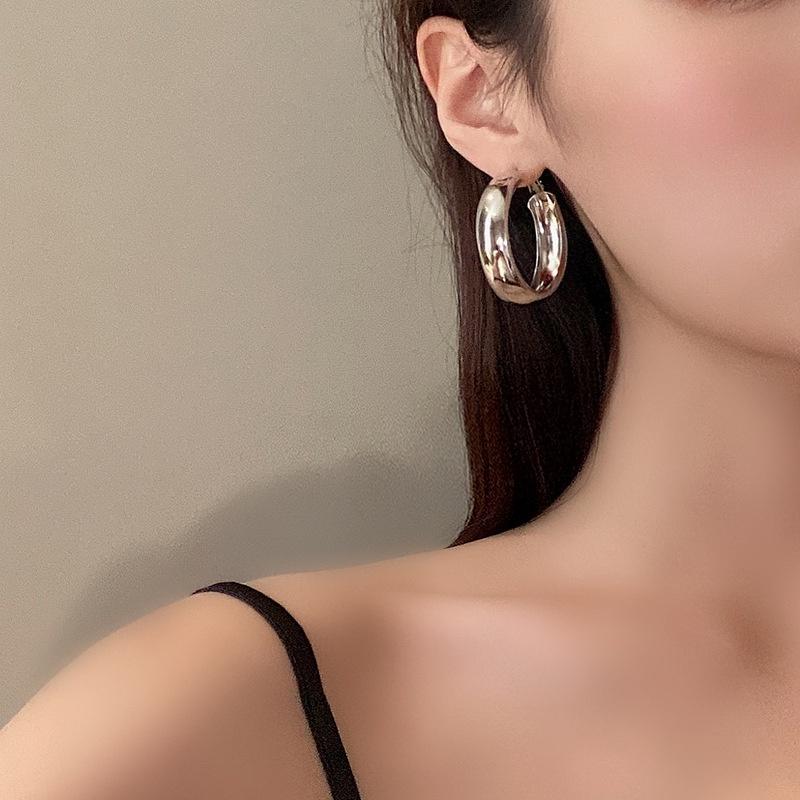 Simple big circle glossy earrings wholesale NHBY332722