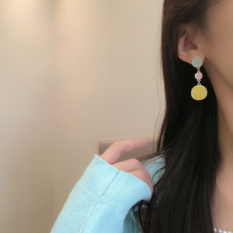 Simple geometric contrast color earrings NHBY332733