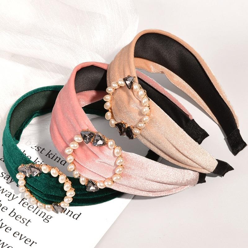 fashion gradient color gold velvet pearl headband NHWB332745