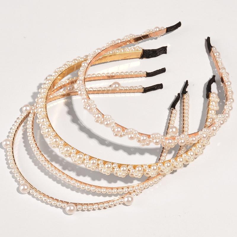 Korean pearl thin side hairband  NHWB332742