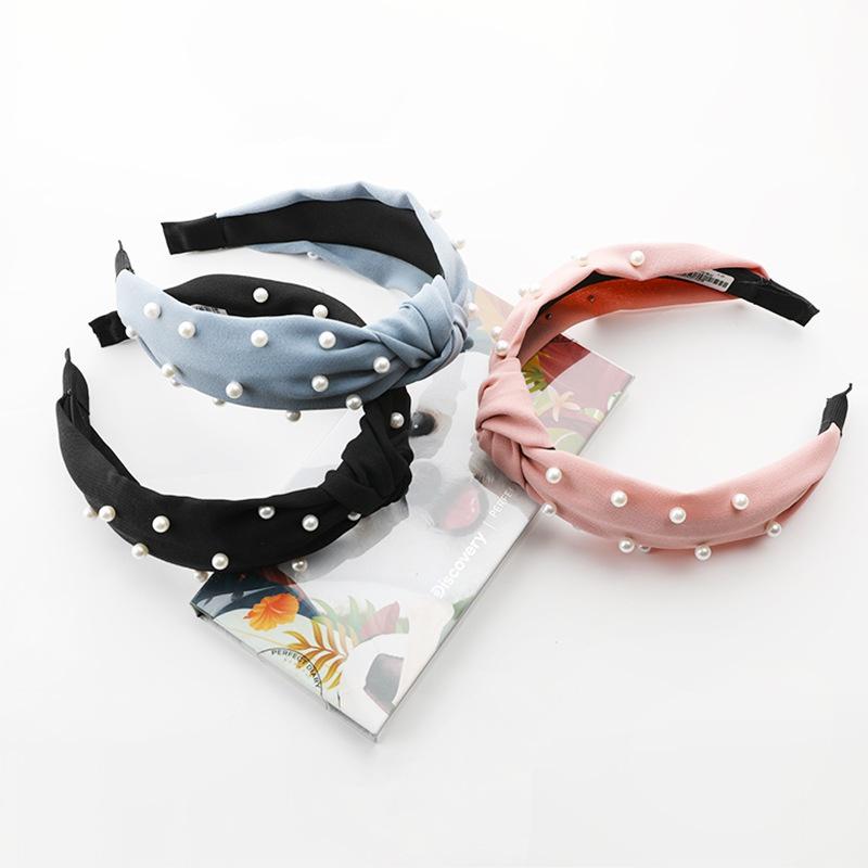 Korean solid color fabric pearl headband  NHWB332741