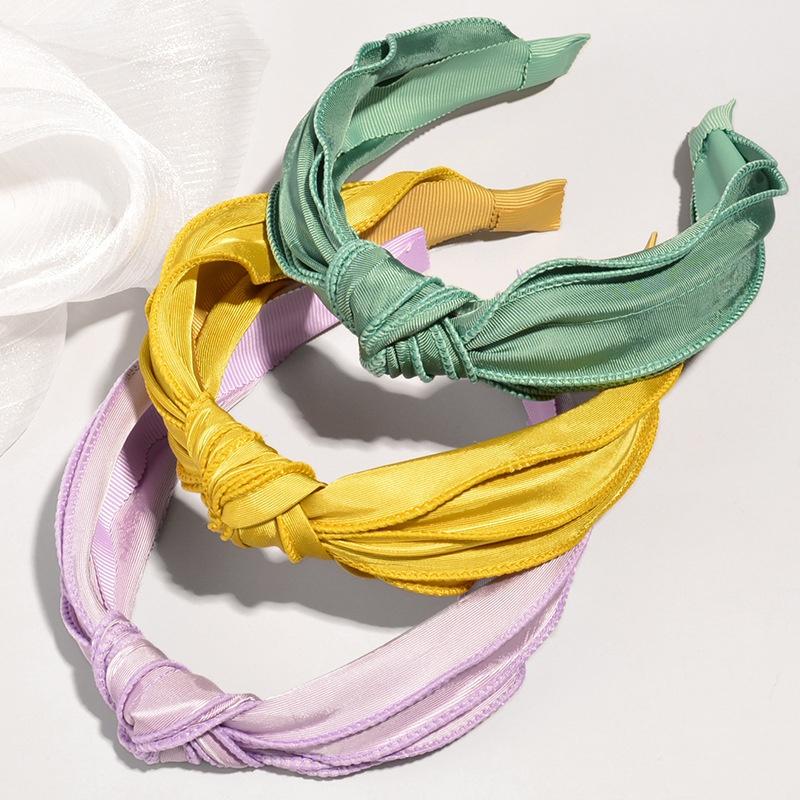Korean multi-layer solid color fabric headband NHWB332751