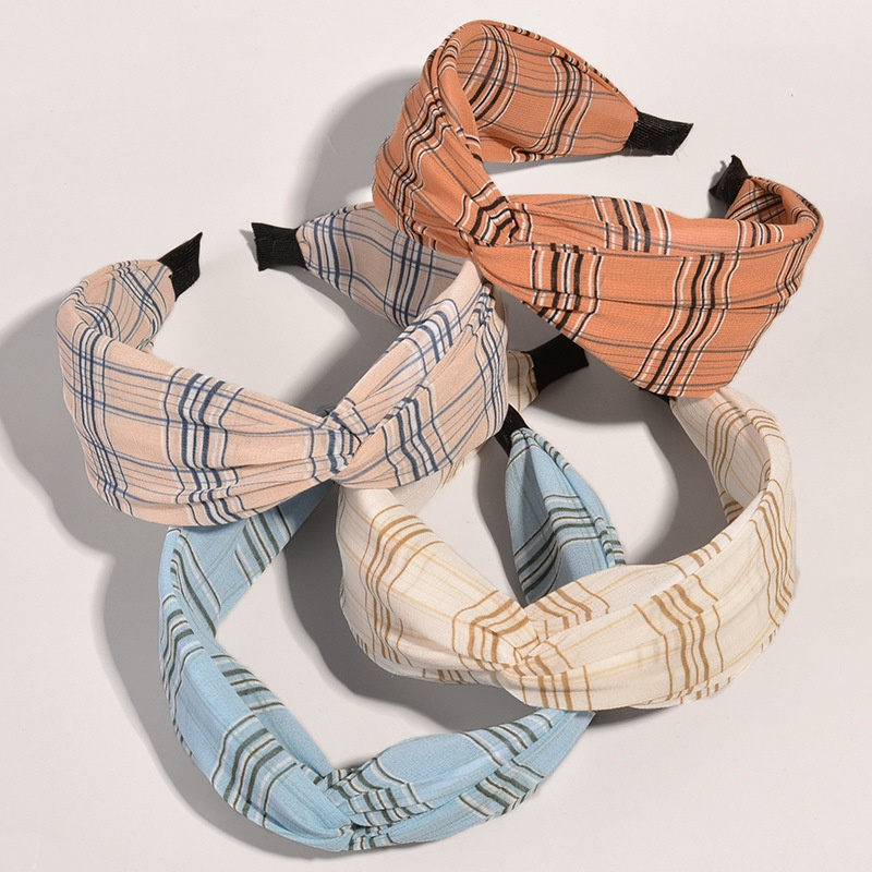 Korean wide-brimmed striped knotted headband  NHWB332763