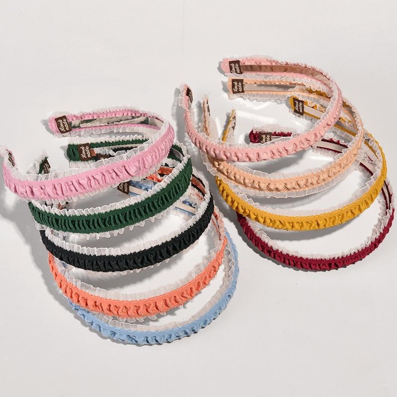 Korean lace folds thin side headband  NHWB332768