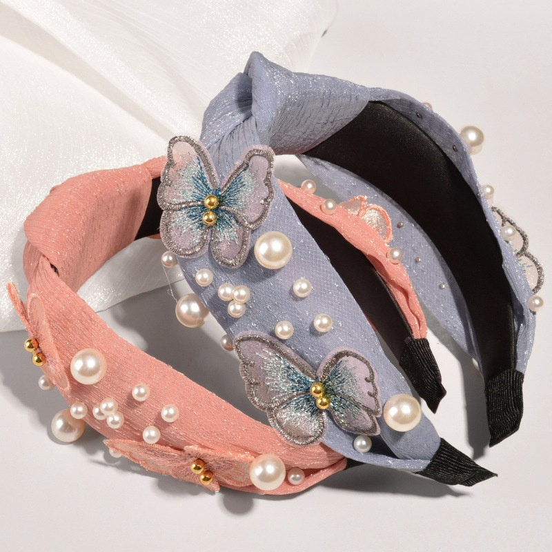 fashion embroidery butterfly bright silk pearl headband NHWB332769
