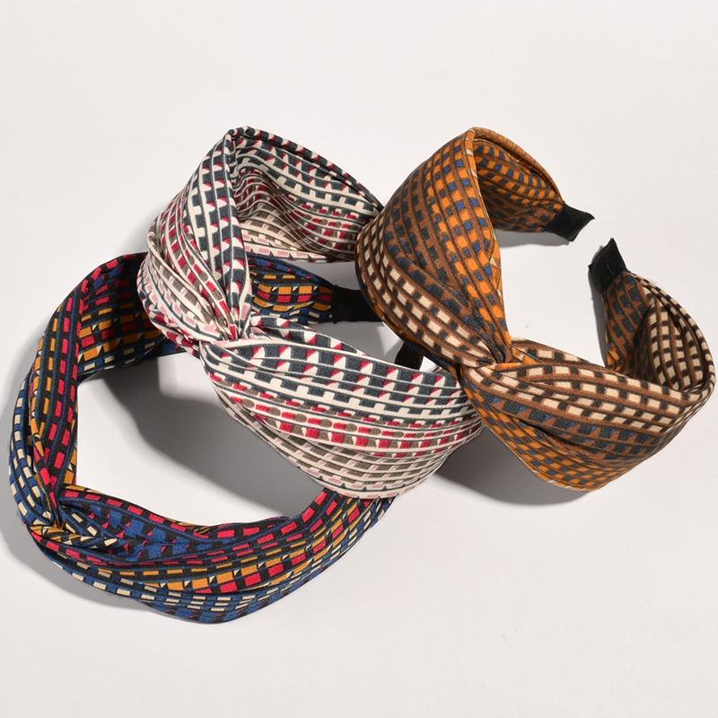 retro colorful checkered fabric headband  NHWB332773