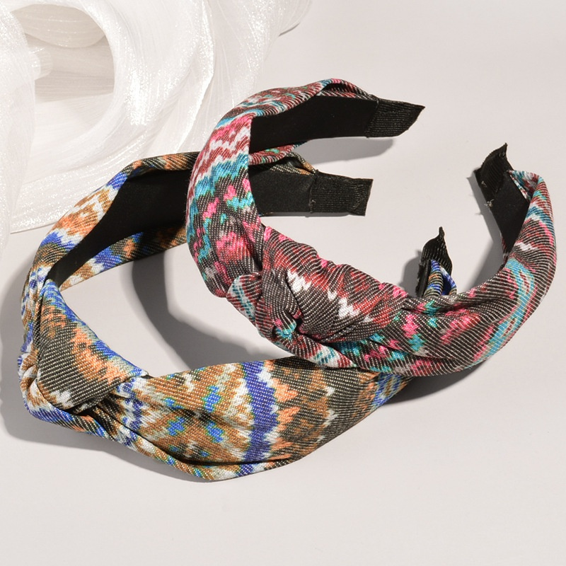 retro colorful printing cross-knotted wide-brimmed headband  NHWB332775