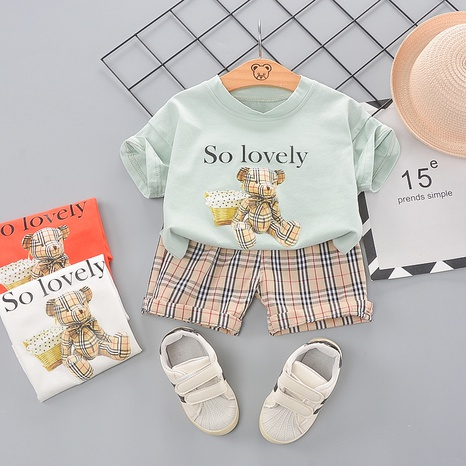 T-shirt en coton avec lettre ours short à carreaux 80-120cm enfant NHWU332679's discount tags
