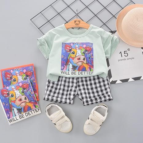 Dessin animé couleur peinture vache à carreaux shorts 80-120cm costume d'été pour enfants en gros NHWU332664's discount tags