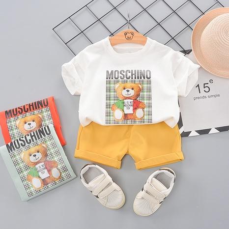 T-shirt en coton à motif ours en treillis de dessin animé pour enfants de 80 à 120 cm NHWU332665's discount tags