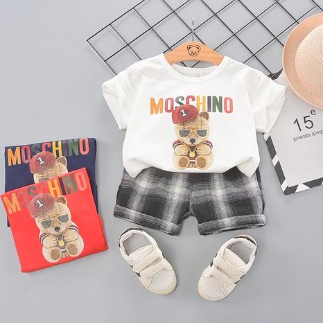 Ensemble de shorts en coton à manches courtes en coton avec lettres d'animaux de dessin animé, 80-120cm en gros NHWU332660's discount tags