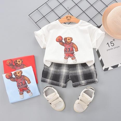 Dessin animé ours de basket-ball en coton 80-120cm T-shirt shorts mis en gros pour enfants NHWU332661's discount tags