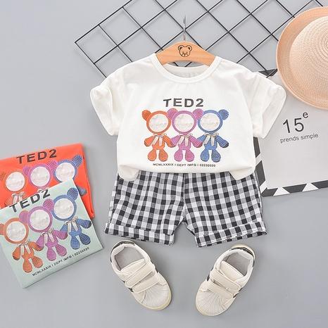 Dessin animé lettre ours t-shirt en coton short à carreaux noir 80-120cm costume pour enfants en gros NHWU332663's discount tags