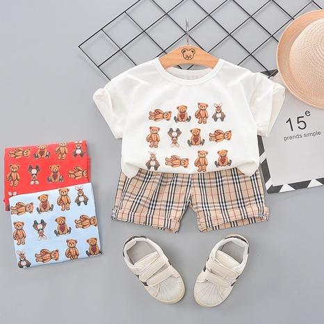 Short en coton à manches courtes à carreaux avec ours animal 80-120cm costume d'été pour enfants NHWU332662's discount tags