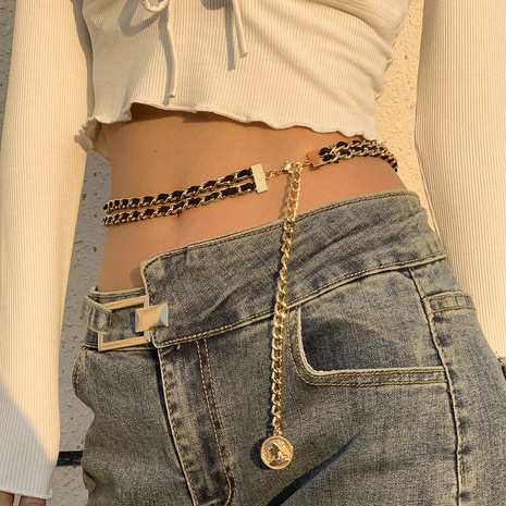 Retro embossed double-layer portrait waist chain NHXR332857's discount tags