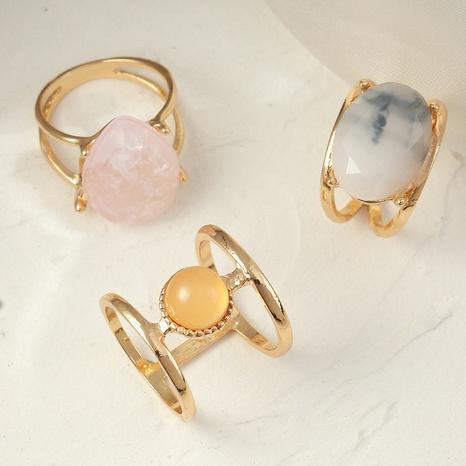 conjunto de anillos de resina geométrica simple NHNZ332873's discount tags