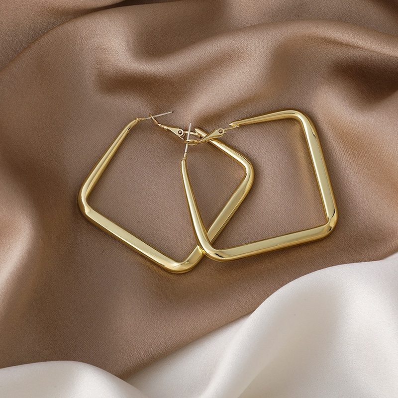 Simple square alloy earrings wholesale NHMS332877