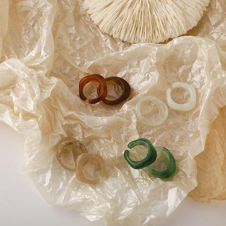Anillo floreciente de resina transparente coreana NHMS332878's discount tags