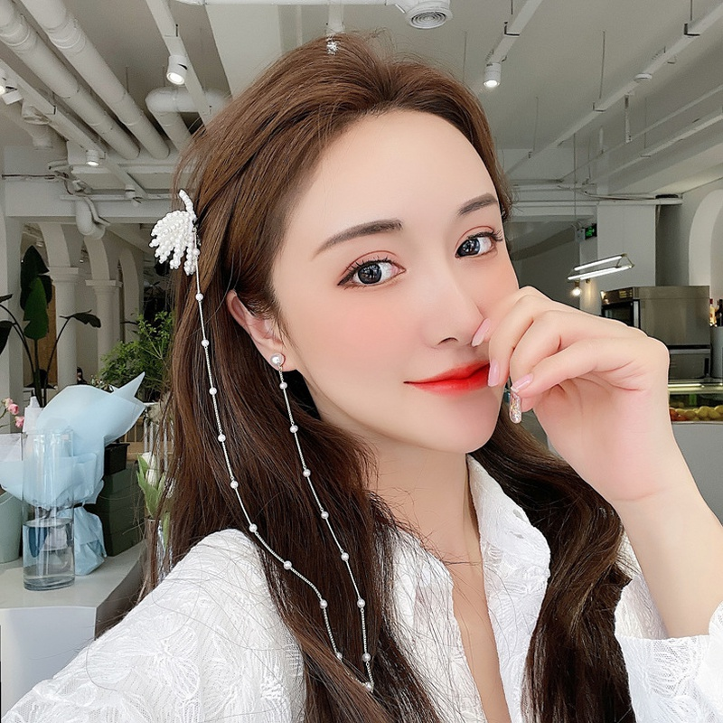 Fashion pearl long tassel one-piece hairpin earrings NHMS332884