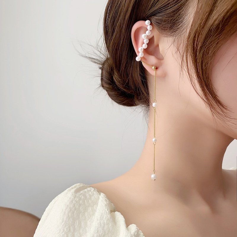 Korean asymmetric pearl earrings wholesale NHMS332885