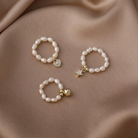 bague de perles étoile coeur zircon mode NHMS332899's discount tags