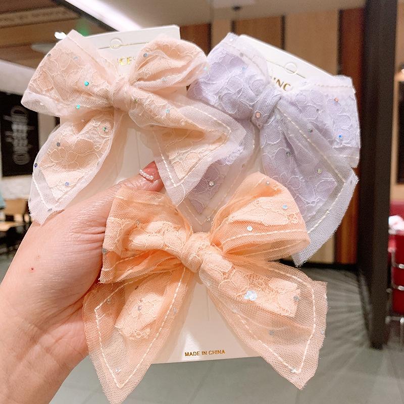 New cute  bow childrens net yarn hairpin NHSA333015