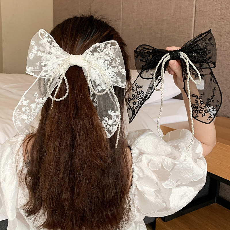 Korea new fashion lace bow tassel hairpin NHCQ333050