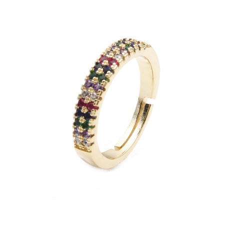 fashion geometric copper zircon opening ring NHYL333061's discount tags