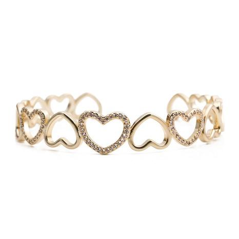 Fashion heart-shape colorful zircon copper bracelet NHYL333055's discount tags