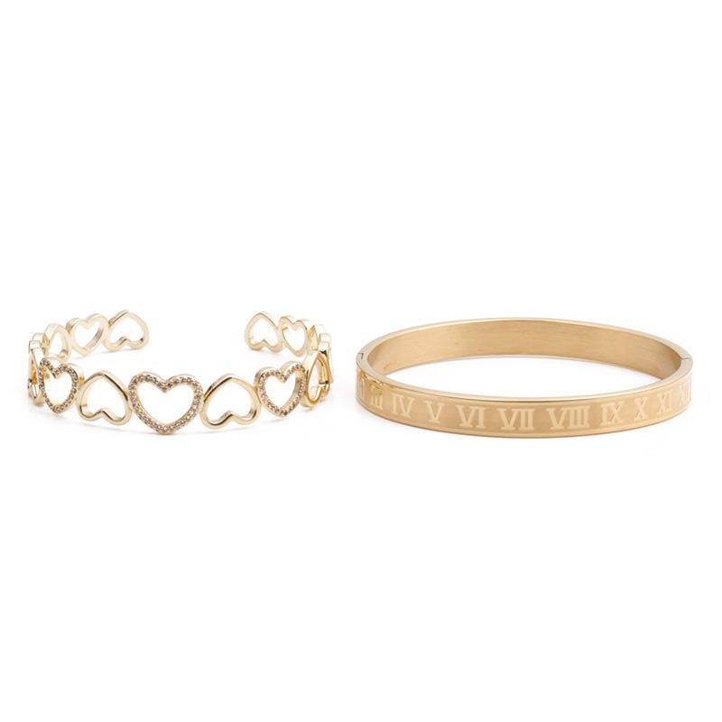 Fashion Roman alphabet heart-shape zircon copper bracelet NHYL333056