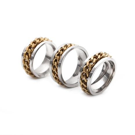 simple stainless Steel Chain Ring NHYL333066's discount tags