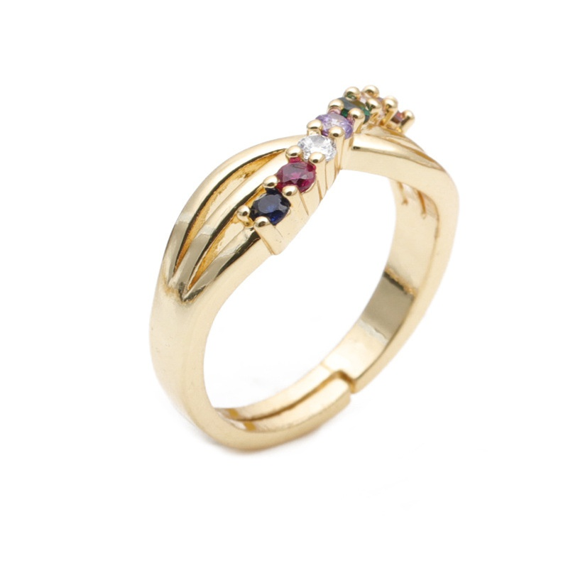 fashion simple geometric gold opening ring  NHYL333064