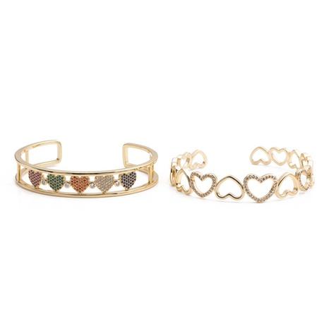 Fashion golden zircon heart-shape copper bracelet wholesale NHYL333068's discount tags