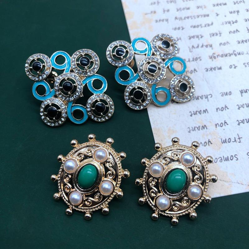 Fashion diamond drip glaze pearl earrings NHOM333159