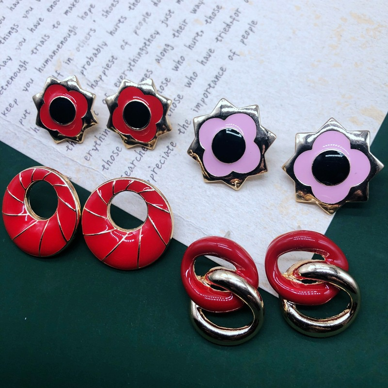 Fashion drip glaze buckle chain earring NHOM333160