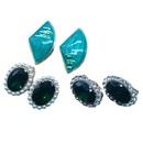 Fashion fanshaped rhinestone alloy earrings NHOM333166