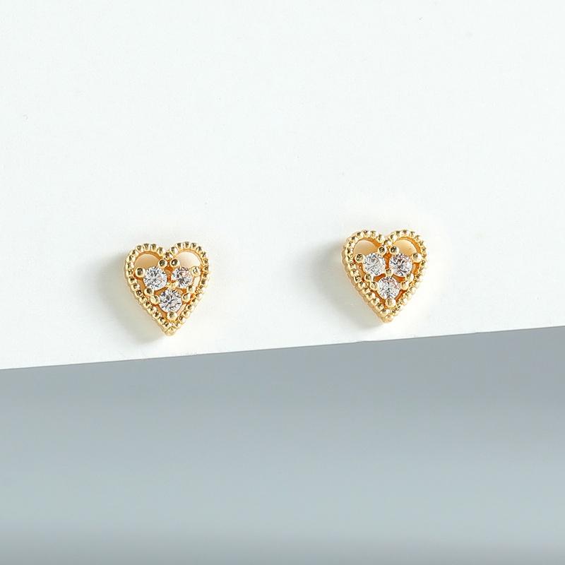 fashion peach heart zircon copper earrings NHLU333198