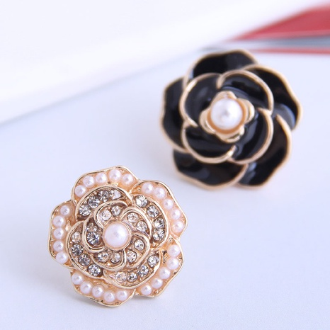 Korean Concise Rose Asymmetrical Stud Earrings NHSC333448's discount tags