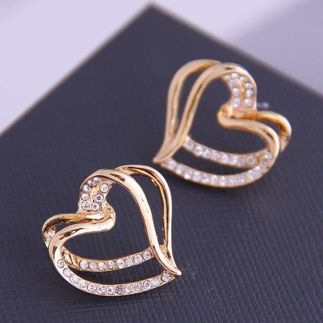 Boucles d'oreilles coréennes en diamant coeur NHSC333446's discount tags