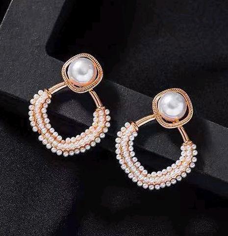 Boucles d'oreilles en métal coréen avec perles concises NHSC333445's discount tags