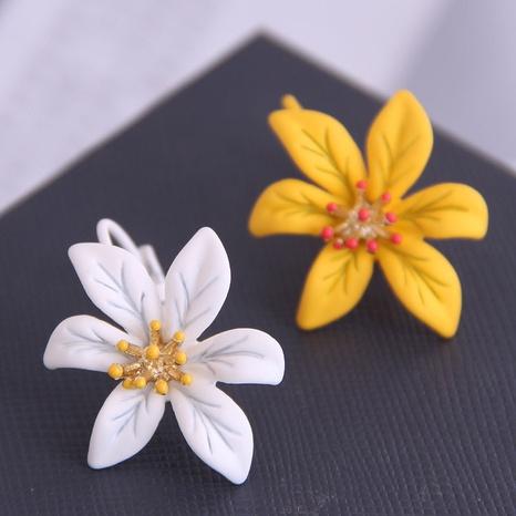 Boucles d'oreilles coréennes fleur bicolore NHSC333444's discount tags