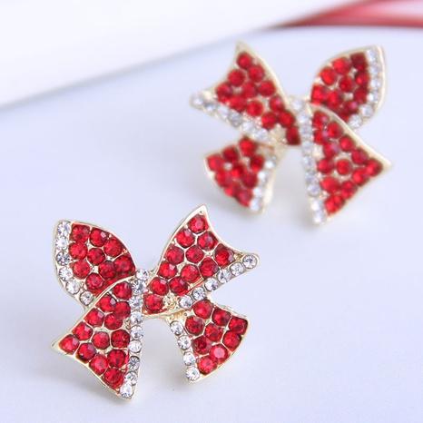 Korean Diamond Bow Stud Earrings NHSC333443's discount tags