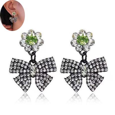 Korean Flash Diamond Bow Stud Earrings NHSC333442's discount tags