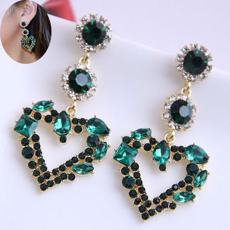 Fashion Shining Green Gemstone Heart Stud Earrings NHSC333441's discount tags