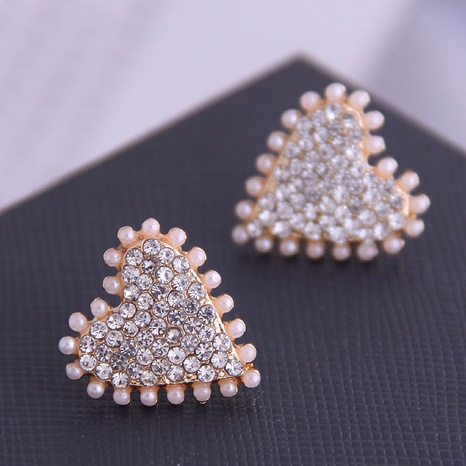 Boucles D'oreilles Coeur Perle Strass Coréen NHSC333427's discount tags