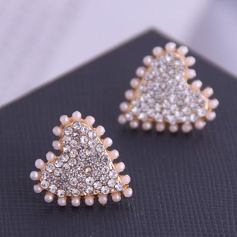 Korean Rhinestone Pearl Heart Stud Earrings NHSC333427's discount tags